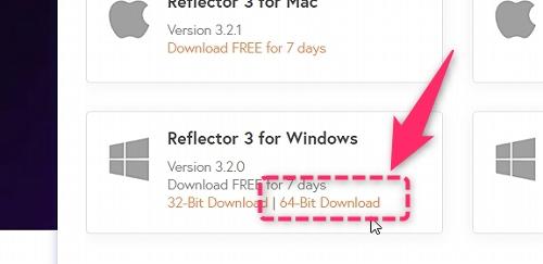 Reflector3ダウンロード先の画像